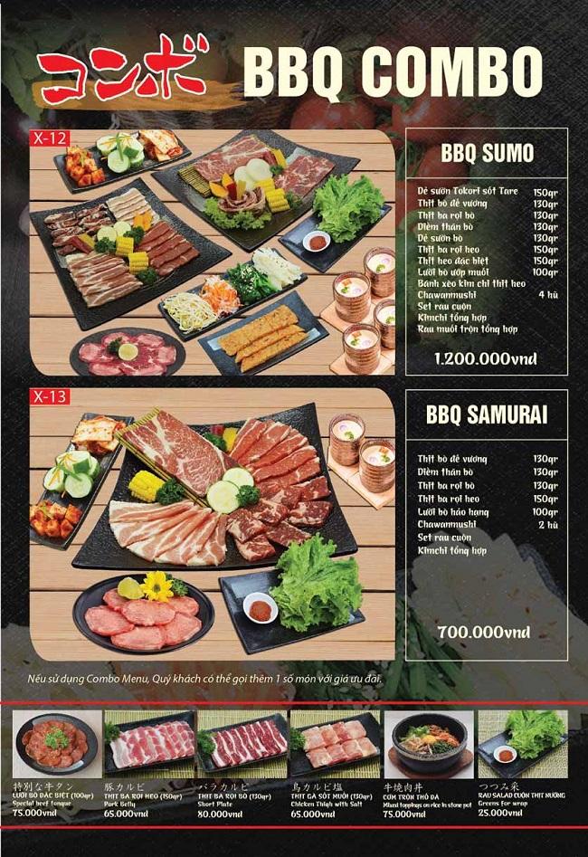 Menu Tokori BBQ - quán nướng quận 5